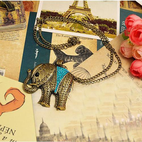 Lucky Blue Crystal Elephant Necklace
