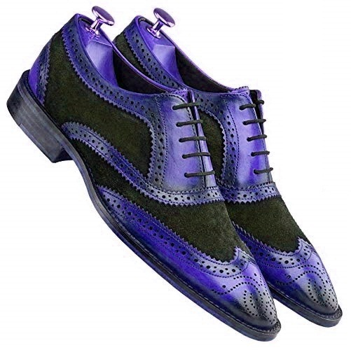 Oxford Two Tone Black Purple Lace Up Formal Dress Real Leather Handmade Shoes - $129.99 - $209.99