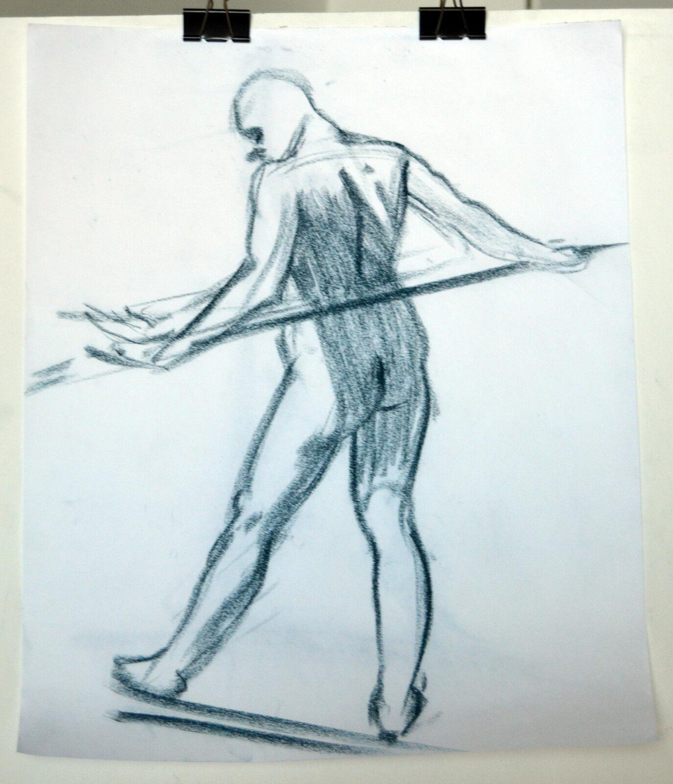 "17"" Vintage Drawing Pastels Sketch Nude Man Stretching II Body Naked Pose"