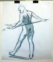 "17"" Vintage Drawing Pastels Sketch Nude Man Stretching II Body Naked Pose - $47.49"