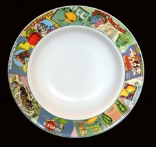 "Large Sakura Vintage Labels Wide Rim 14-1/4"" Detailed Serving Bowl Unused Disc - $39.99"