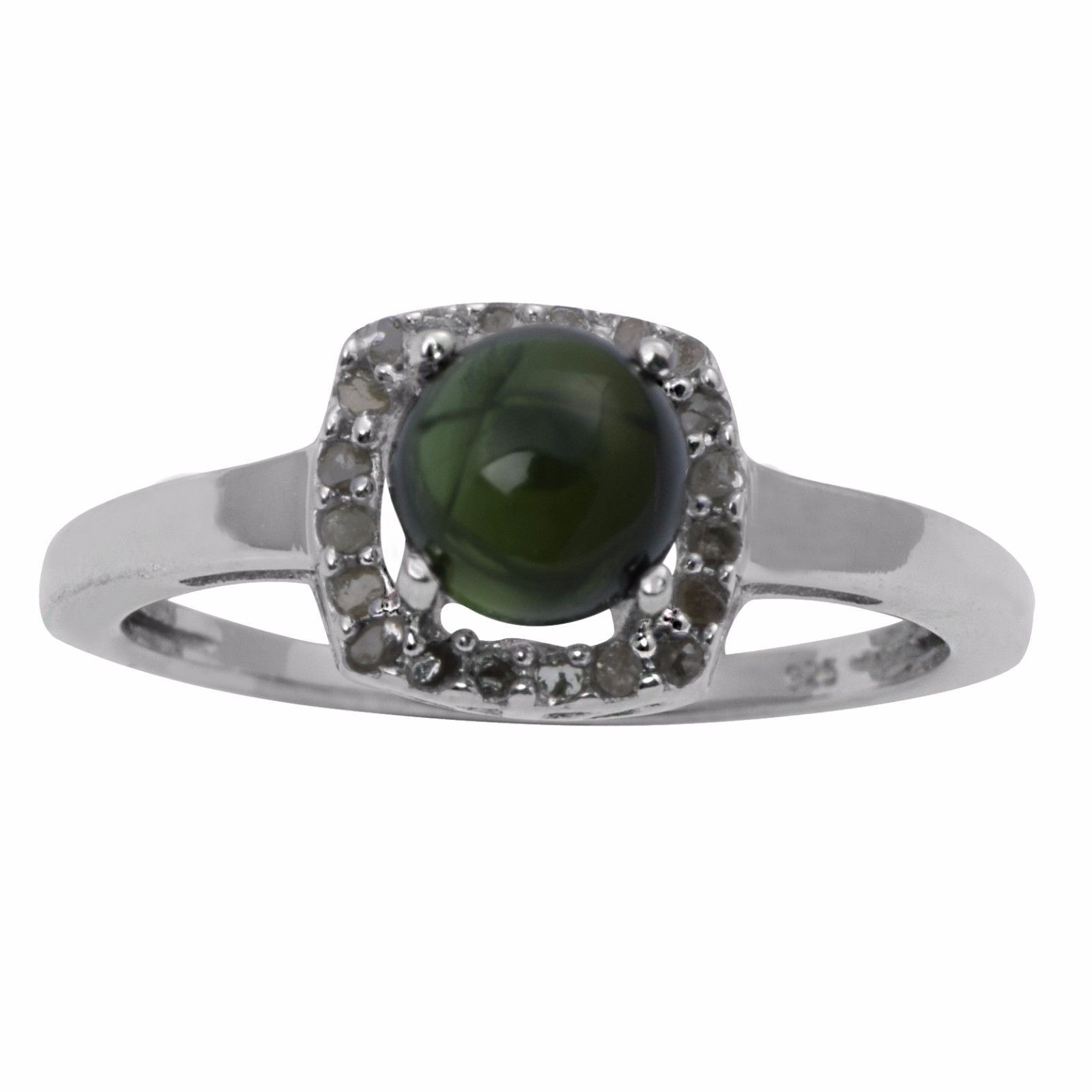 Green Tourmaline And Single Cut Daimond 925 Sterling Silver Ring SZ 7 SHRI0736