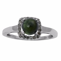 Green Tourmaline And Single Cut Daimond 925 Sterling Silver Ring SZ 7 SH... - $26.82
