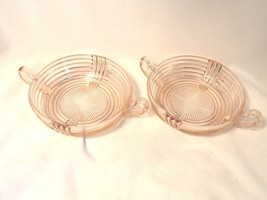 Pink Depression2 Glass Bowls 2-Handled Nappies ... - $7.49