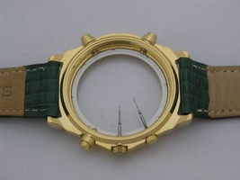 Case with dial and green leather strap, gold tone - $158.40