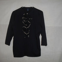 Chaps Womens Size Large Navy Blue Top Blouse - $9.89