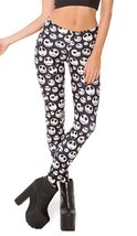 BadAssLeggings Women's White Skulls Leggings XL Black - $19.79