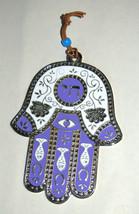 Judaica Kabbalah Hamsa Purple White Enamel Wall Hang Evil Eye Hai image 1