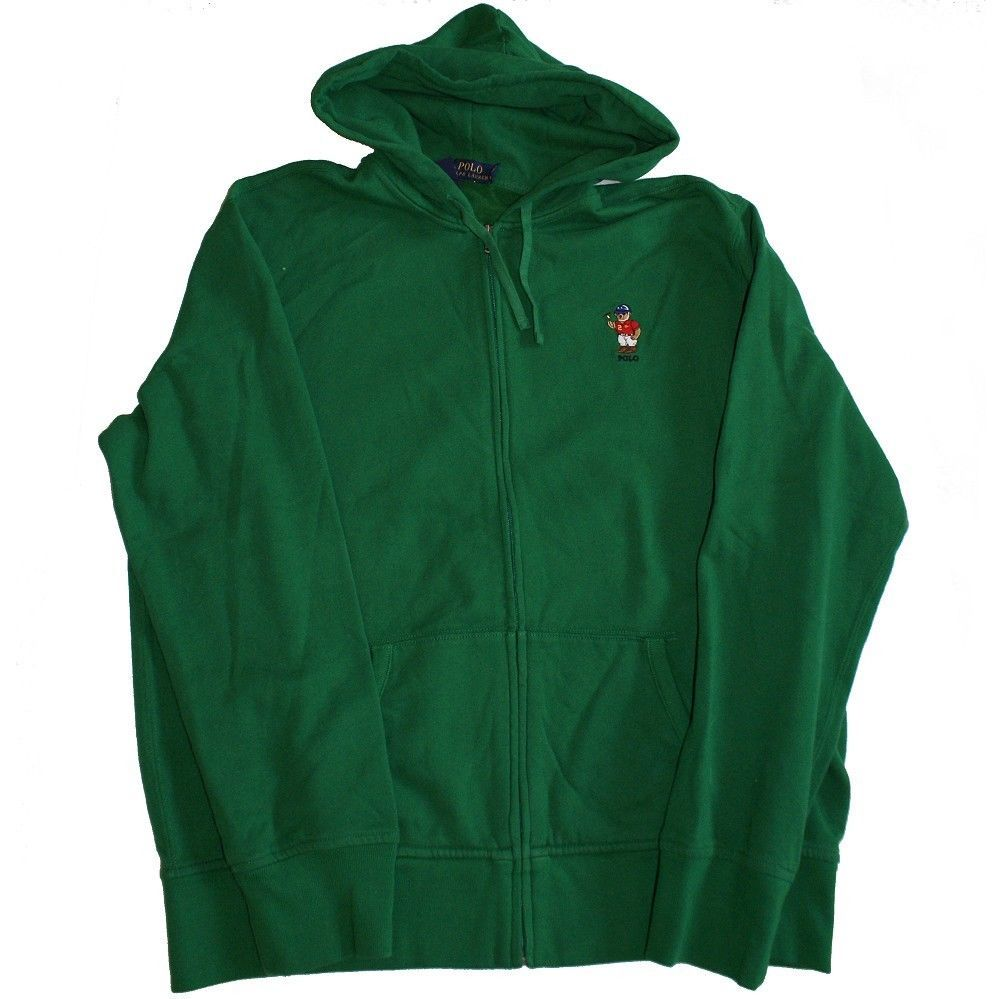 POLO RALPH LAUREN Green Full Zip Fleece Hoodie Athlete Bear L NEW