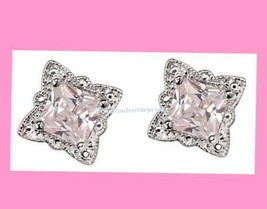 Earring Signature Brilliance Picture-Perfect CZ Studs Silvertone 2016-Bo... - $19.75
