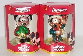 Disney Mickey Mouse Minnie Ornaments Energizer European Glass Mouth Blown  - $39.95