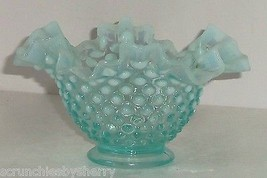 "Fenton Aqua Blue Ruffled Dish Opalescent Hobnail Candy Nut 4"" Tall Vintage  - $59.95"