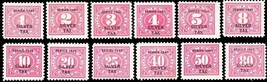 RG37//48, F-VF Mint NH/LH 12 Diff Silver Tax Stamps Cat $435.00 - Stuart... - $295.00