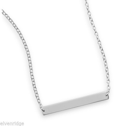 "16"" + 2"" Thin Engravable Bar Nameplate Necklace Sterling Silver"