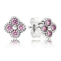 925 Sterling Silver Oriental Blossom Pink Stud Earrings QJCB941 - $19.99