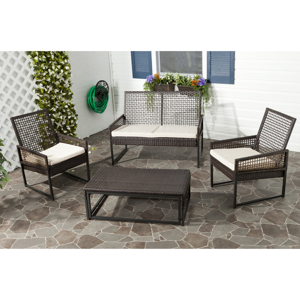 4 piece patio wicker set with cushions outdoor furniture