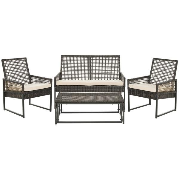 4 Piece Patio Wicker Set with Cushions Outdoor Furniture Rattan Garden Chair