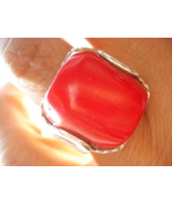 Cocktail Genuine Coral Sterling Ring 65 Carats Size 8.25 avlb - $59.00