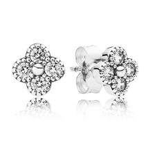 925 Sterling Silver Oriental Blossom Clear Stud Earrings QJCB942 - $19.99