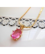 Nolan Miller Pink Crystal Rhinestone Pendant 14... - $34.64