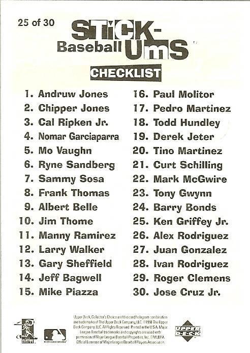 1998 ken griffey jr seattle mariners upper deck stick ums baseball card