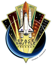 Space Shuttle Program STS 135 shaped vinyl sticker Nasa 150mm x 120mm 19... - $3.65