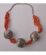Antique Yemen Silver / red coral Necklace Choker- signed Globe Beads - $420.75