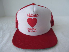 Vintage Sagapo Hellenic Festival New Era Snapback Mesh Truckers Red Hat USA  - $5.44