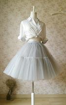 LIGHT GRAY Full Tulle Skirt Knee Length Ballerina Skirt Gray Skirt Plus Size NWT image 6