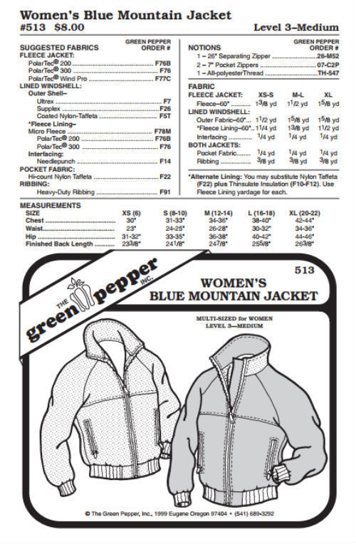 Primary image for Women's Blue Mountain Jacket Coat Outerwear #513 Sewing Pattern (Pattern Only)