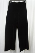 Alex Evenings Pants Sz L Solid Black Velvet Wid... - $39.53