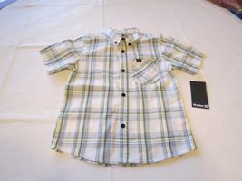 Boy's kids youth Hurley 6 881056 782 Sail white plaid button up shirt bo... - $42.56
