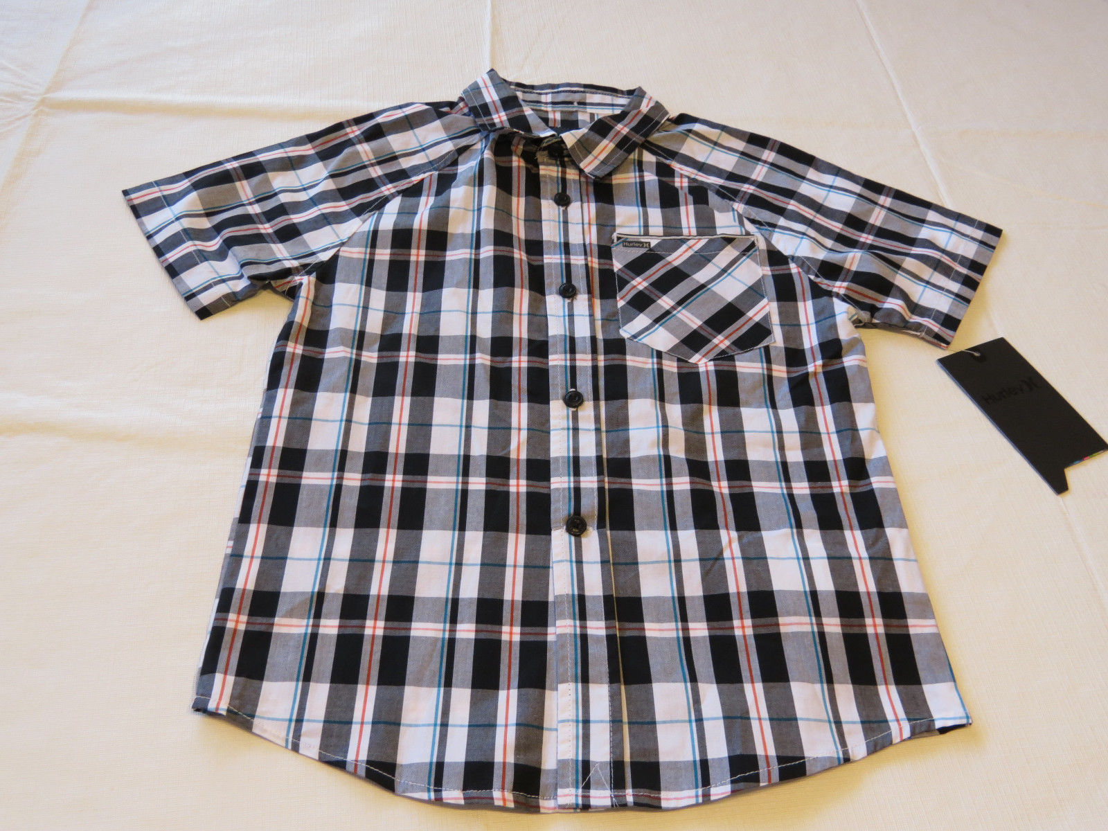 Boy's kids youth Hurley 6 881859 249 black white plaid button up shirt boys NWT