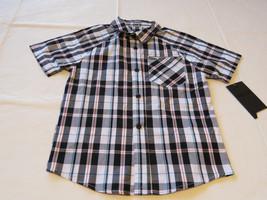 Boy's kids youth Hurley 6 881859 249 black white plaid button up shirt b... - $42.56