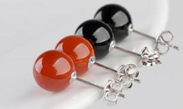 Wei Hua Genuine Elegant Silver Stud Earrings Natural Onyx Sterling  Earr... - $9.99