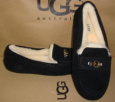 Primary image for UGG Australia Black ANSLEY Chunky Crystal Moccasins Size US 7, EU 38 NEW 1007713