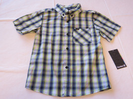 Boy's kids youth Hurley 6 881056 E33 Flash Lime plaid button up shirt bo... - $42.56