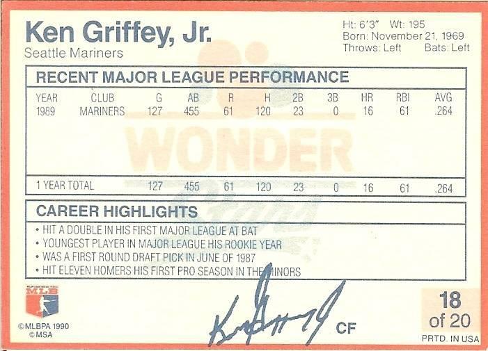 1990 ken griffey jr seattle mariners wonder bread stars baseball card