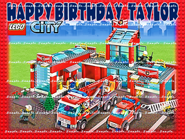 FIRE STATION: Personalized edible image cake topper 1/4 sheet - $8.78+