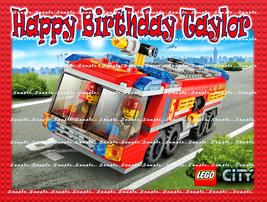 FIRE TRUCK: Personalized edible image cake topper 1/4 sheet - $8.78+