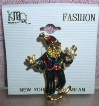Clown Brooch Pin as a court Jester green and re... - $7.99