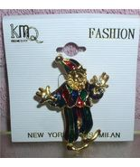 Clown Brooch Pin as a court Jester green and red Pin/Pins - $7.99