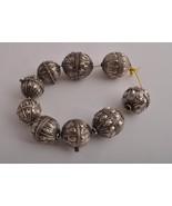 9 Antique Yemeni hallmarked silver Globe Beads ... - $395.01