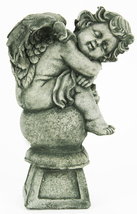 Angel on Pedestal Concrete Statue  - $69.00