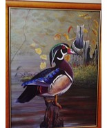 "Male Wood Duck / ""Woody"" / 16"" x 12""/ Original Acrylic Painting /Canvas - $225.00"