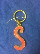 Vintage Keychain 'S' Red & Gold - $7.99