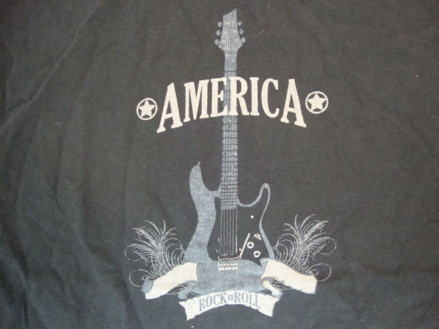 America Rock N Roll Guitar Music Fan Black Cotton T Shirt Size L