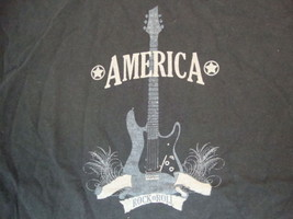 America Rock N Roll Guitar Music Fan Black Cotton T Shirt Size L - $360,45 MXN