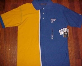 St. Louis Blues Hockey Team Logo NHL Men's Blue Yellow Polo Shirt M New NWT - $27.71