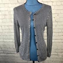 Loft Women's Long Sleeve Thin Cardigan Navy White Geometric Print Size S - $19.25